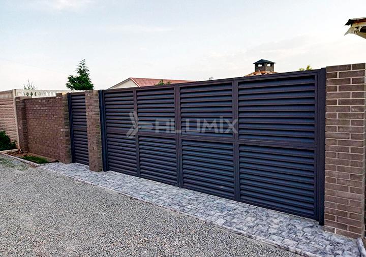 Распашные ворота и калитка для базы отдыха 1