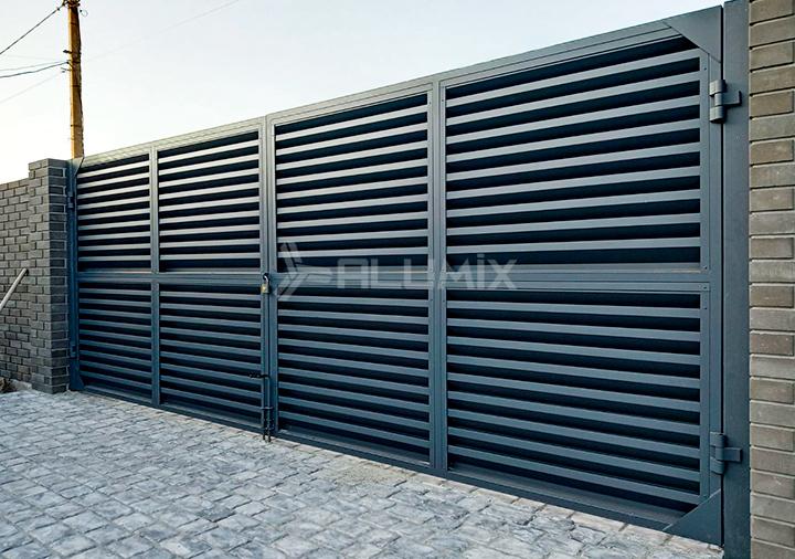 Распашные ворота и калитка для базы отдыха 3